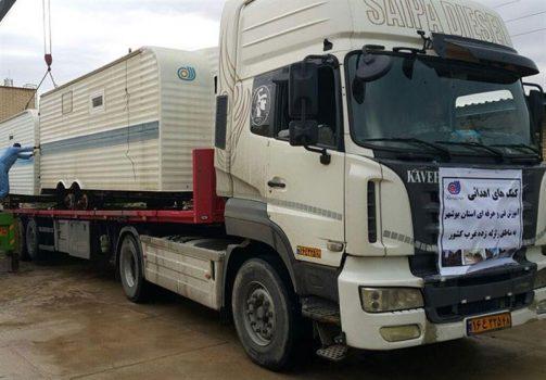 اوقاف بوشهر ۲ تریلری و کامیون کمک برای مناطق زلزلهزده ارسال کرد