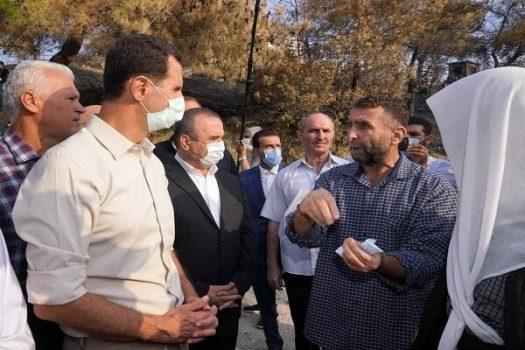 «بشار اسد» از یک روستای آسیب دیده در حومه لاذقیه بازدید کرد
