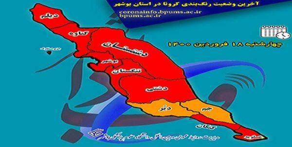 طغیان کرونا در بوشهر/ ۸ شهرستان در وضعیت قرمز